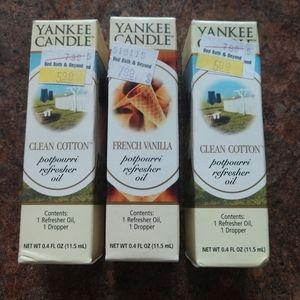 3/$15Yankee candle potpourri oil vanilla cotton x3